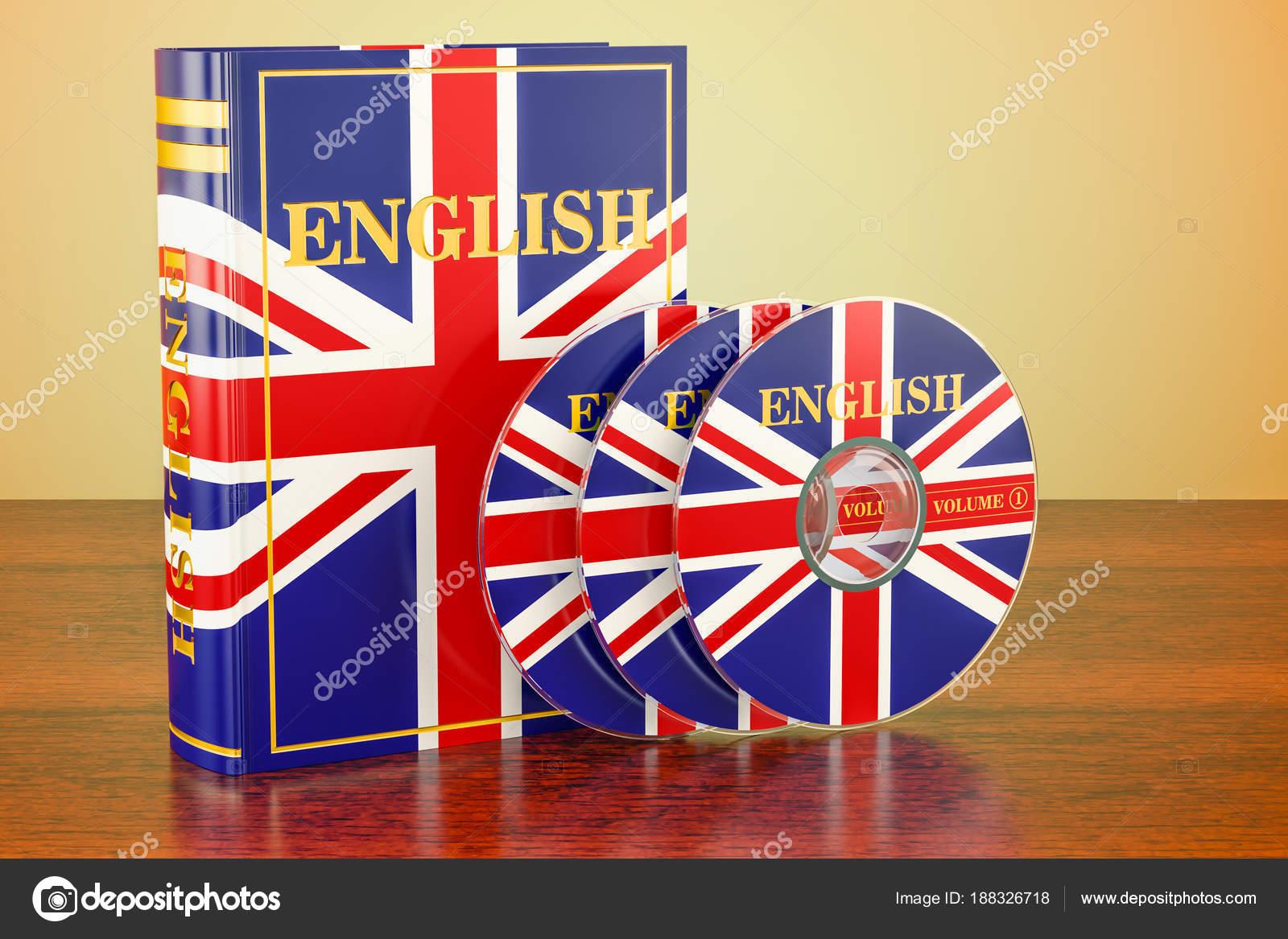 englisches buch mit flagge von großbritannien und cd-discs auf dem