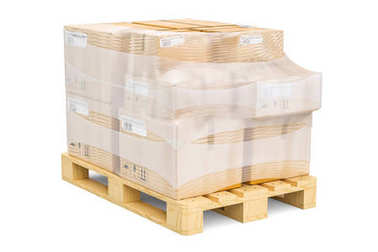 Wooden pallet with parcels wrapped in the stretch film, 3D rende