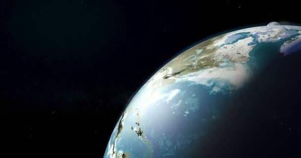 Měsíční rotace kolem země světa closeup, animace. 3D vykreslování