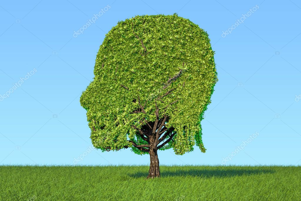 Human head shaped tree on the green grass against blue sky, 3D r