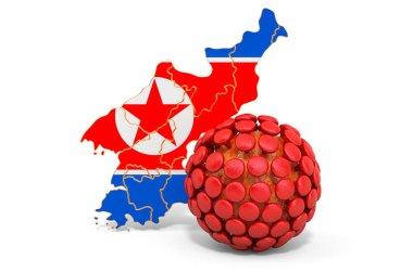 Virus in North Korea concept, 3D rendering