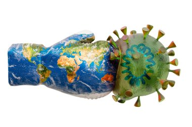 Boxing glove with Earth map texture and virus, 3D rendering