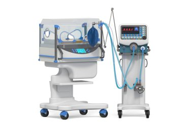 Neonatal intensive care unit, NICU. Medical ventilator and infant incubator. 3D rendering isolated on white background