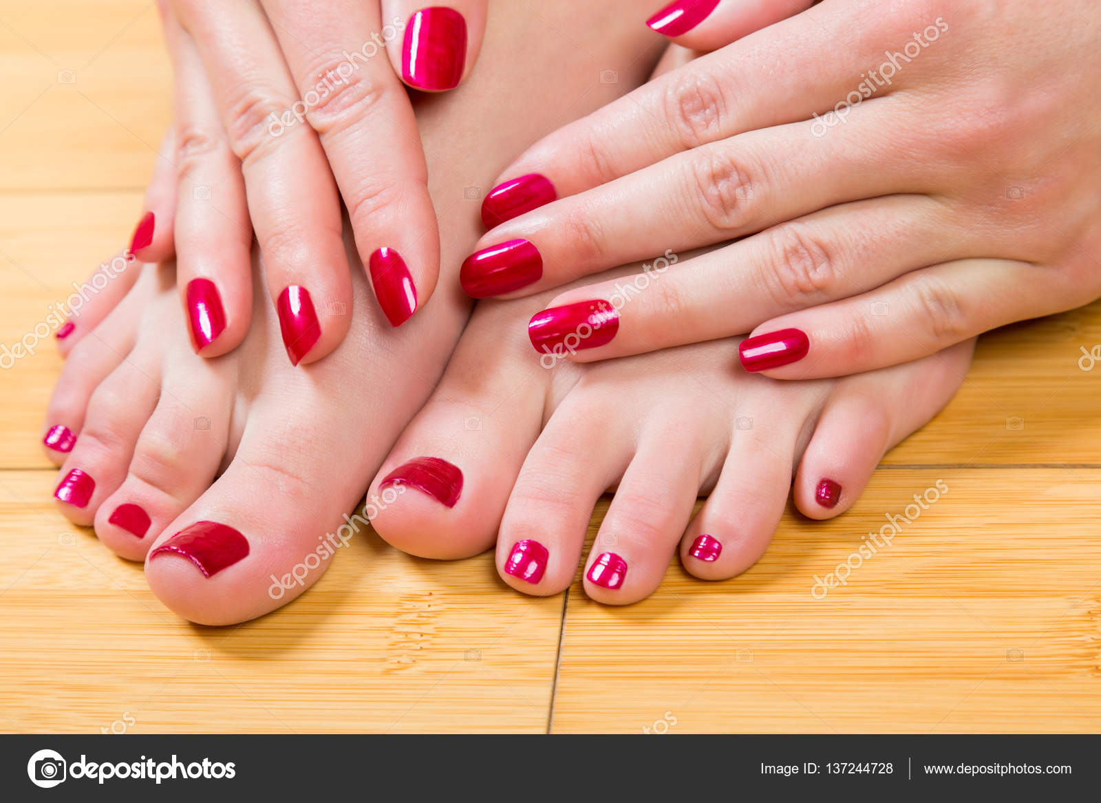 Neatly painted toenails and fingernails — Stock Photo ...