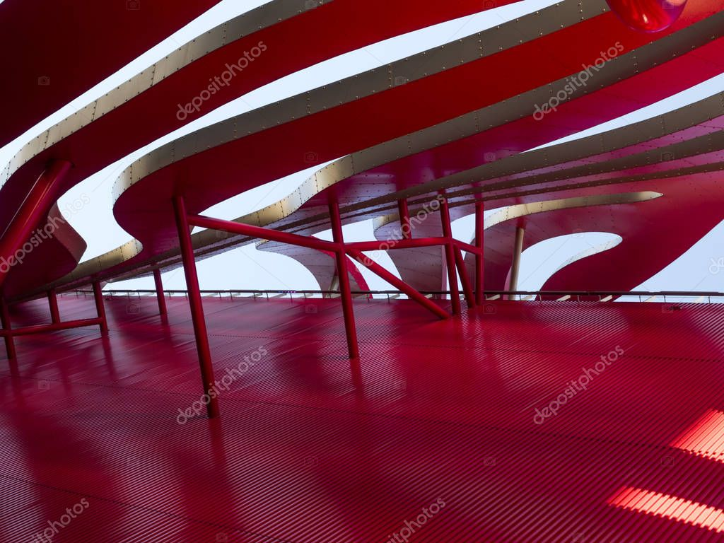 Petersen Automotive Museum facade on the August 12th, 2017 - Los Angeles, CA, USA