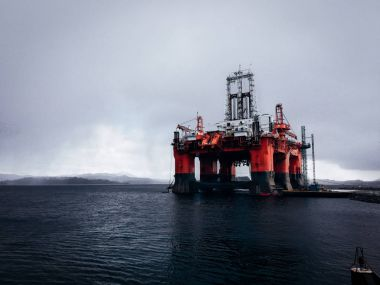 Massive oil rig platform