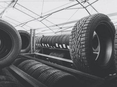 Warehouse full of car tires