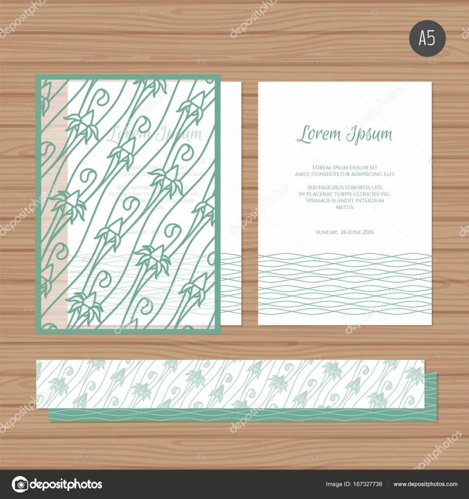 Wedding invitation or greeting card with floral ornament. Paper lace ...