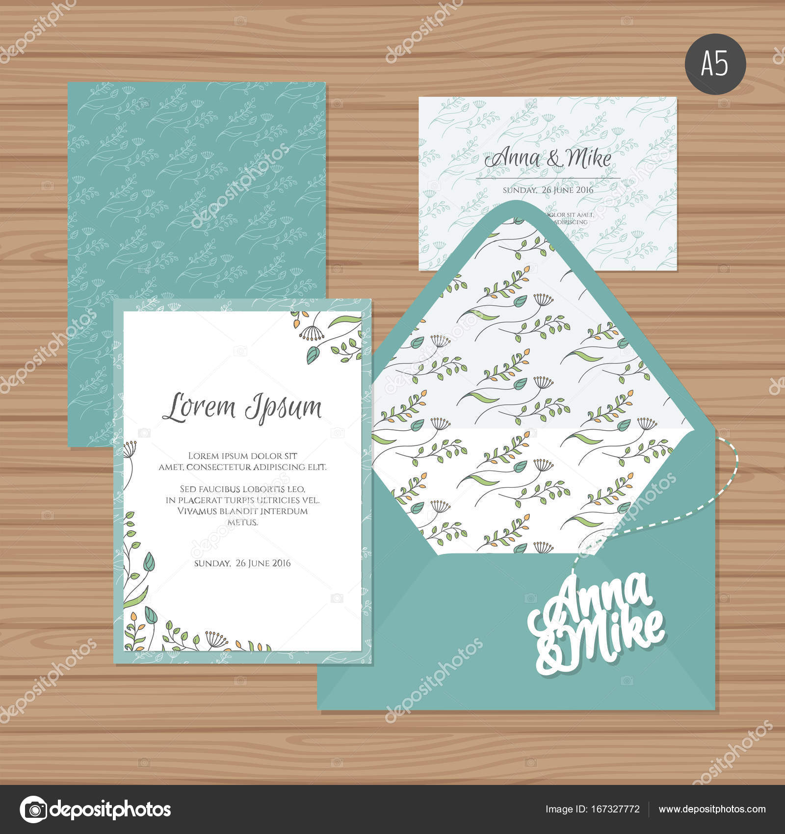 Template wedding invitation and envelope with floral ornament ...