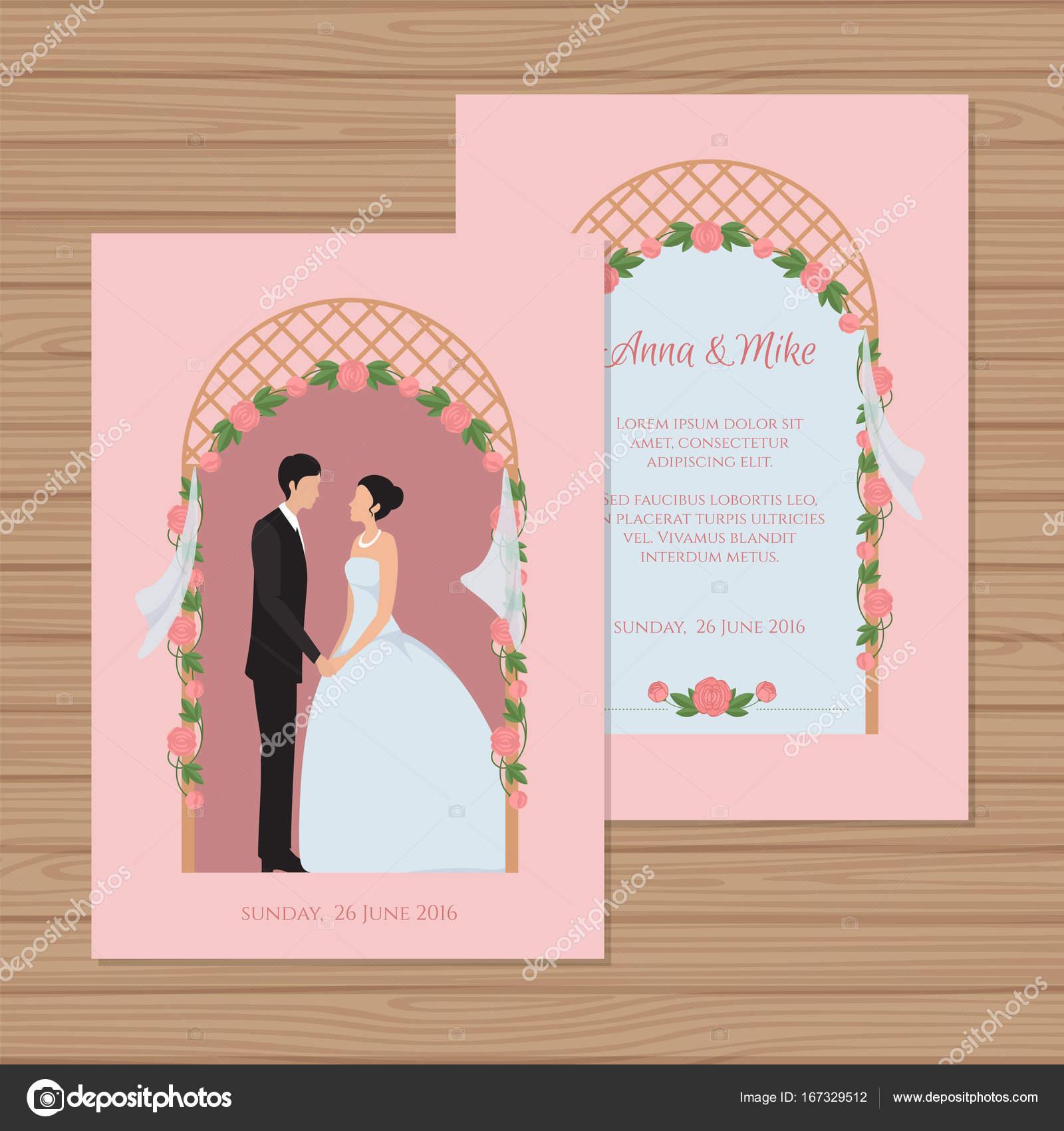 b0972db97f Zaproszenie na ślub z panny młodej i pana młodego na tle łuku ślub.  Ilustracja wektorowa