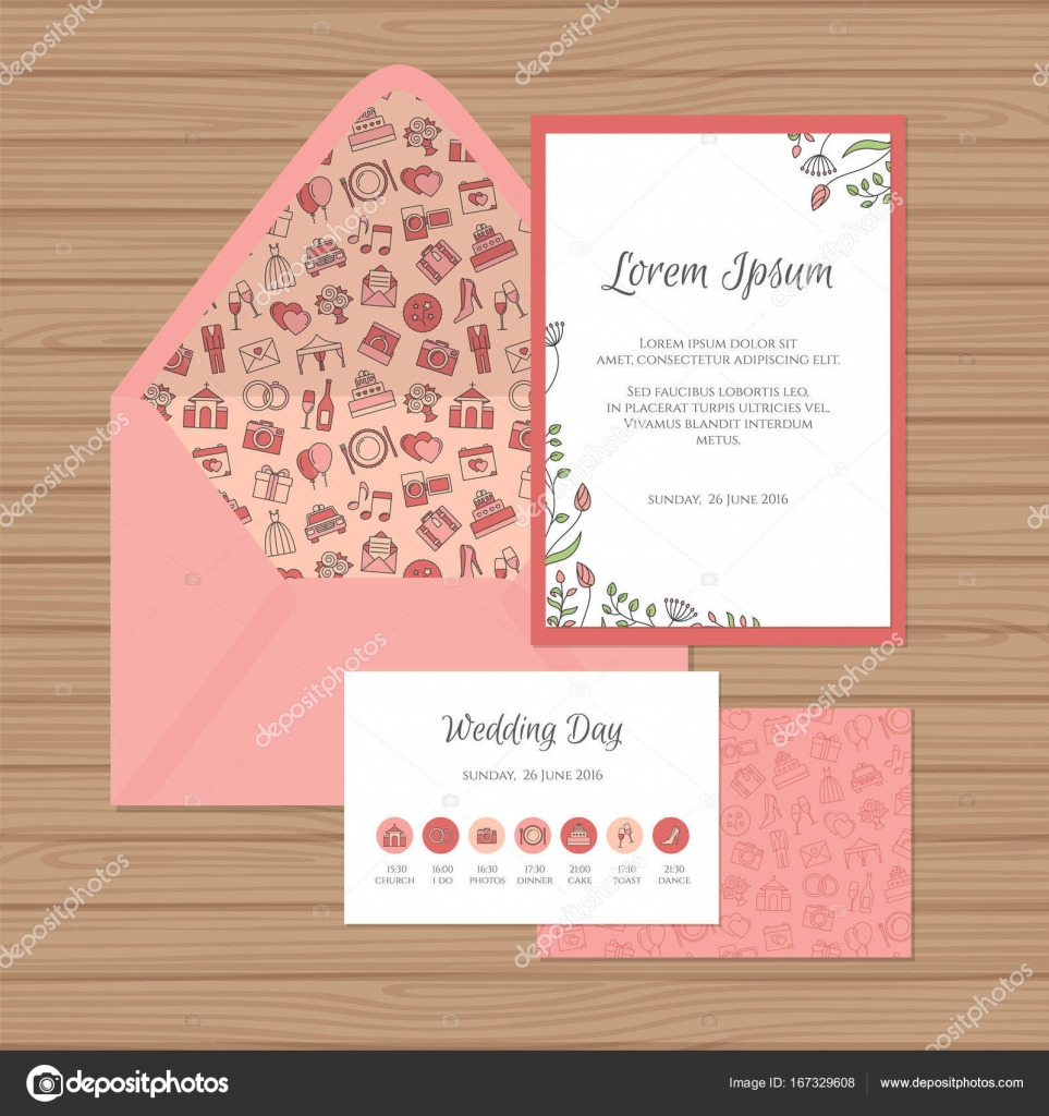 Wedding Invitation Timeline Card And Envelope With Floral