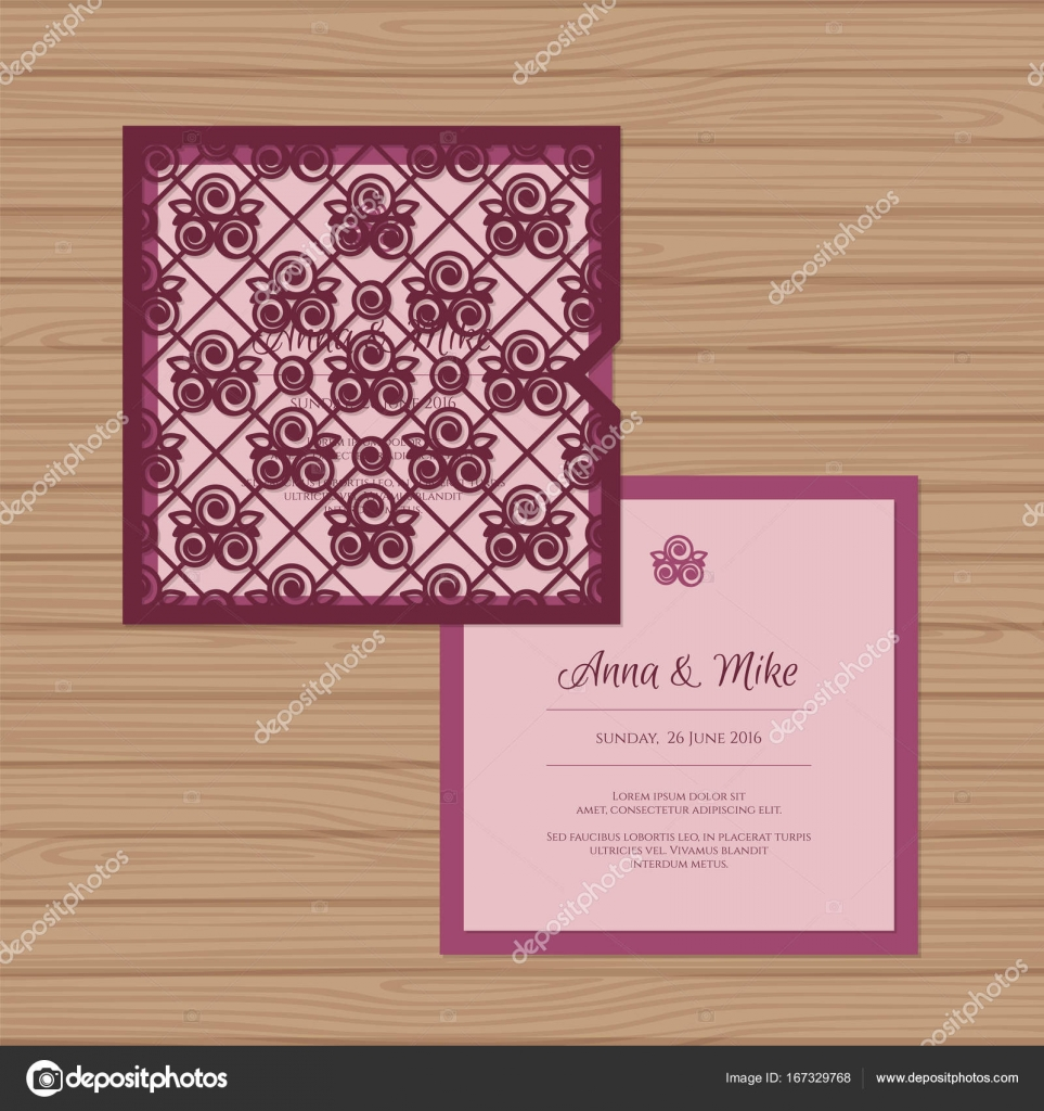 Fesselnd Hochzeitseinladung Oder Grußkarte Mit Nahtlosen Rosen Muster. Schneiden Sie  Laser Quadratischen Briefumschlag Vorlage. Hochzeit Einladung Umschlag Für  Das ...