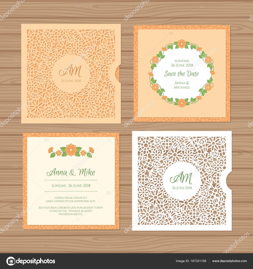 Hochzeitseinladung Oder Grußkarte Mit Blume Ornament. Schneiden Sie Laser  Quadratischen Briefumschlag Vorlage. Hochzeit Einladung Umschlag Für Das ...
