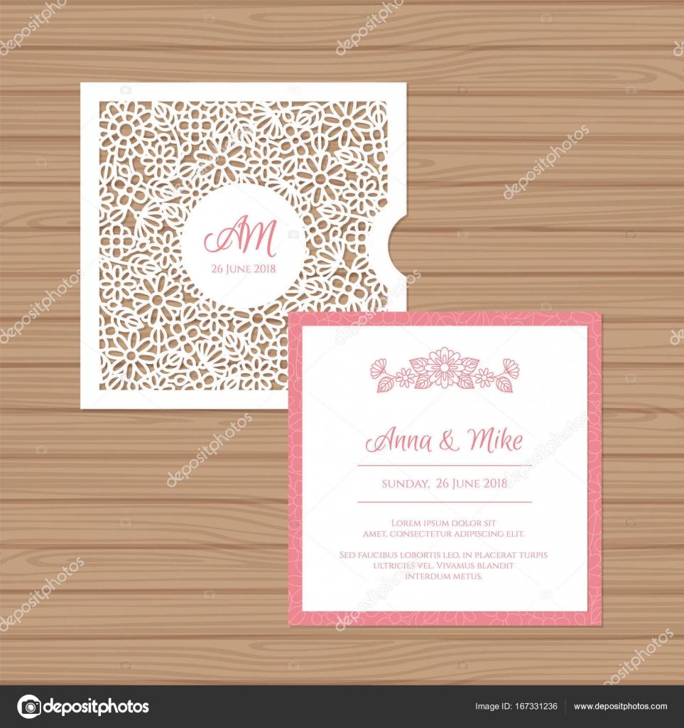 Toll Hochzeitseinladung Oder Grußkarte Mit Blume Ornament. Schneiden Sie Laser  Quadratischen Briefumschlag Vorlage. Hochzeit Einladung Umschlag Für Das ...
