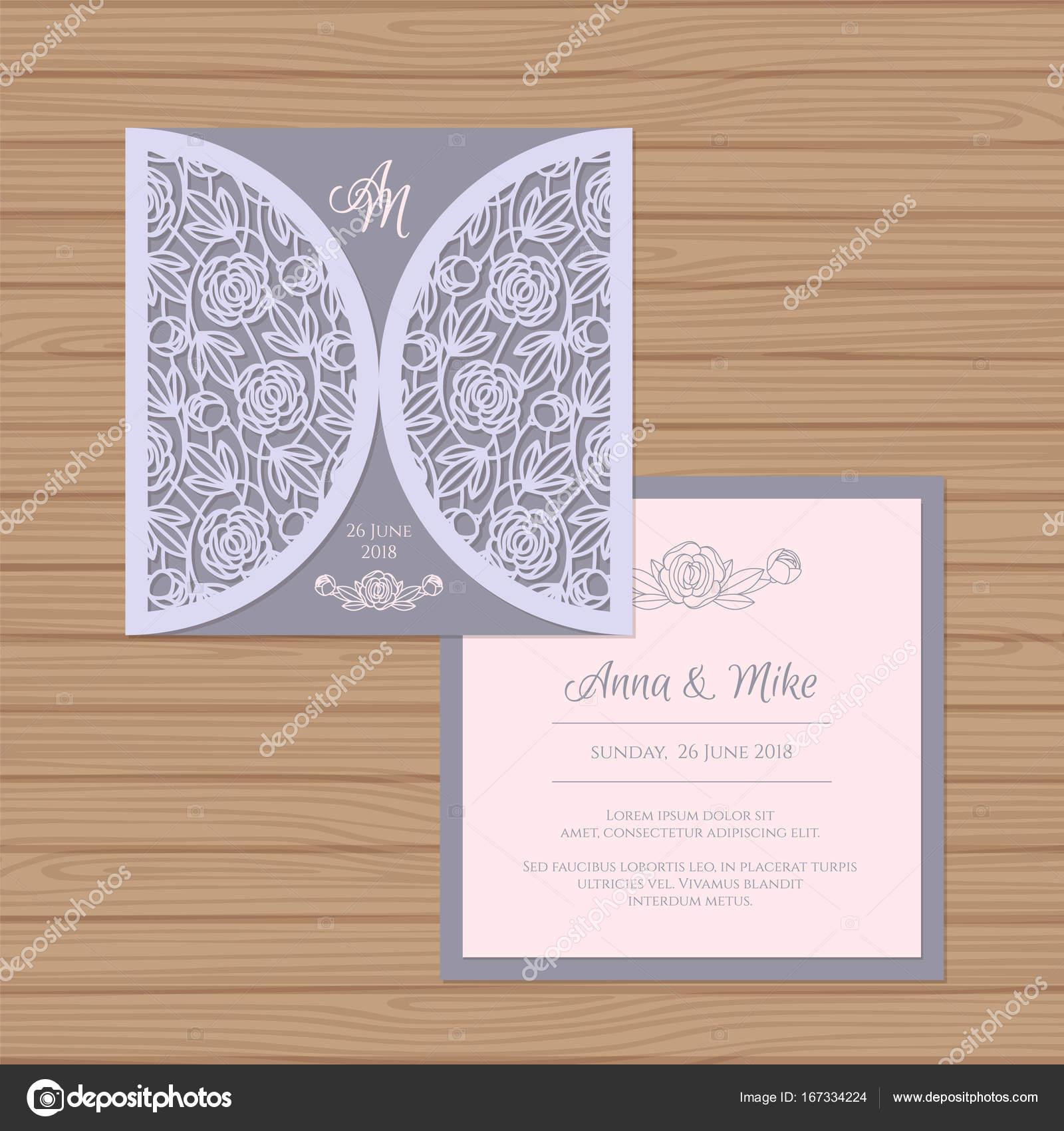 Wedding Invitation Or Greeting Card With Flower Ornament Cut Laser