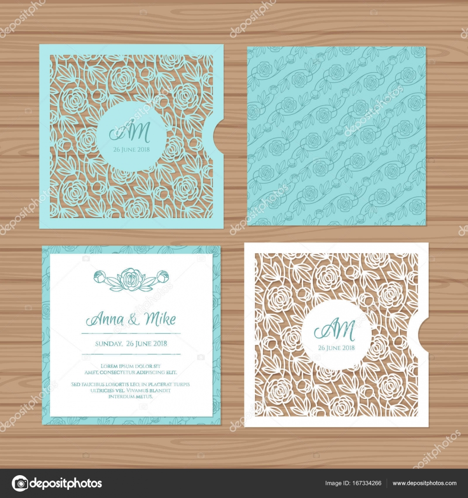 Wedding invitation or greeting card with flower ornament cut laser wedding invitation or greeting card with flower ornament cut laser square envelope template wedding maxwellsz