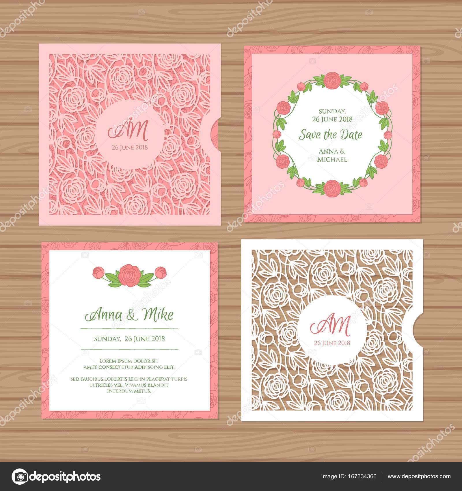 wedding invitation or greeting card with flower ornament cut laser