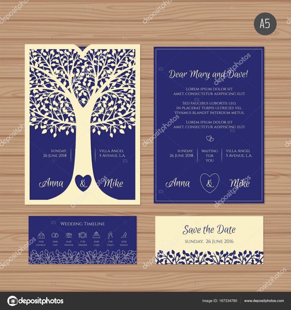 Hochzeitseinladung Oder Grußkarte Mit Baum. Papierschablone Spitze Umschlag.  Hochzeit Einladung Umschlag Mock Up