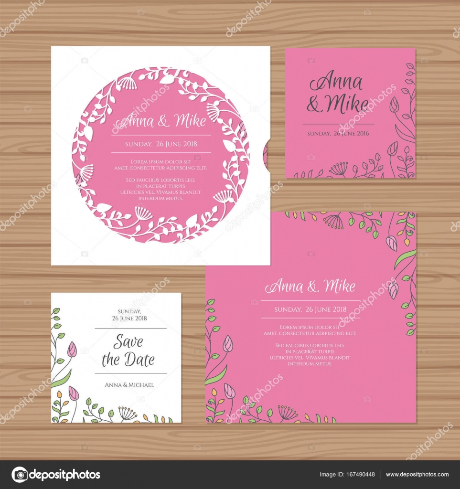 Hochzeitseinladung Oder Grußkarte Mit Blumen Kranz. Schneiden Sie Laser  Quadratischen Briefumschlag Vorlage. Hochzeit Einladung Umschlag Für Das ...