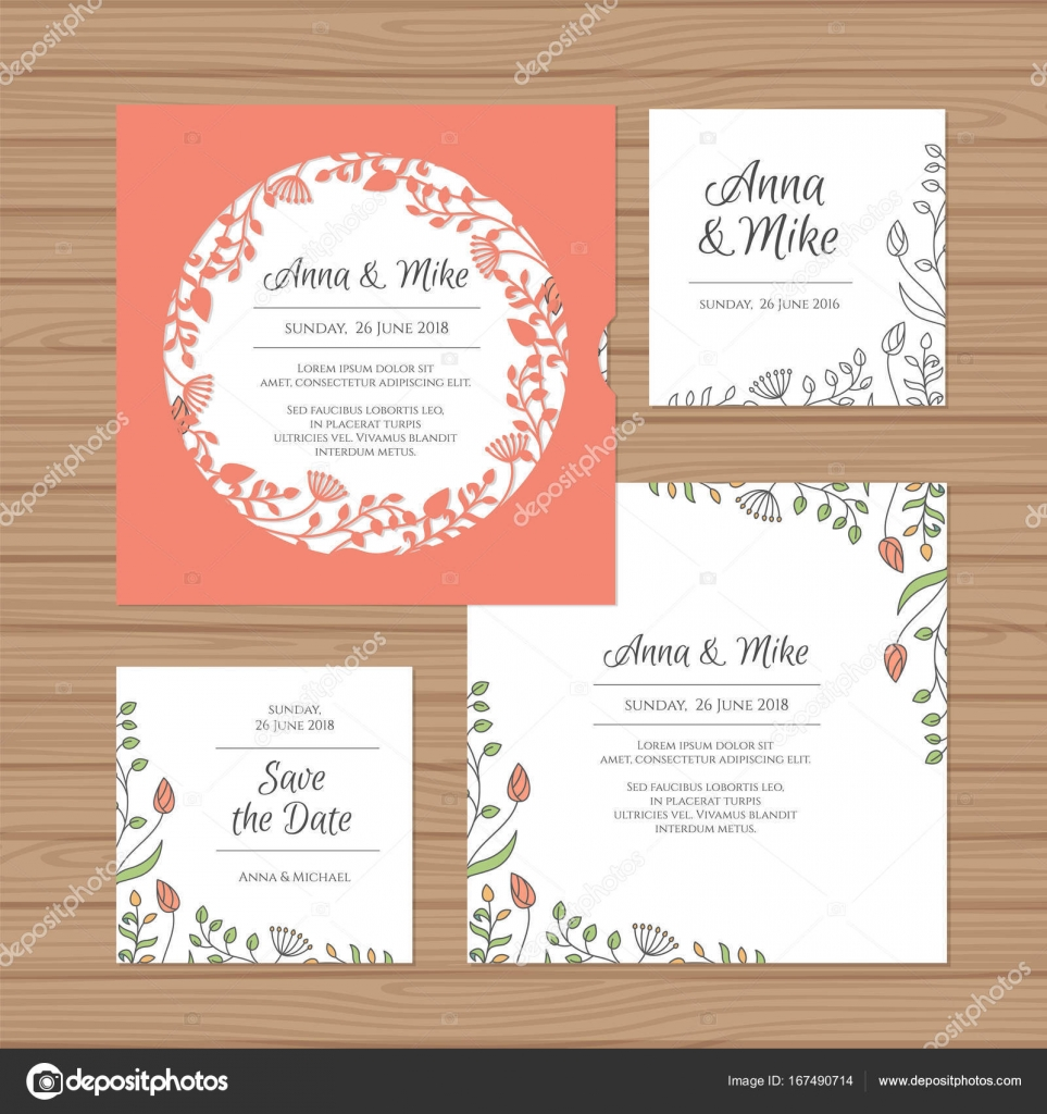 Wedding invitation or greeting card with flower wreath. Cut laser ...