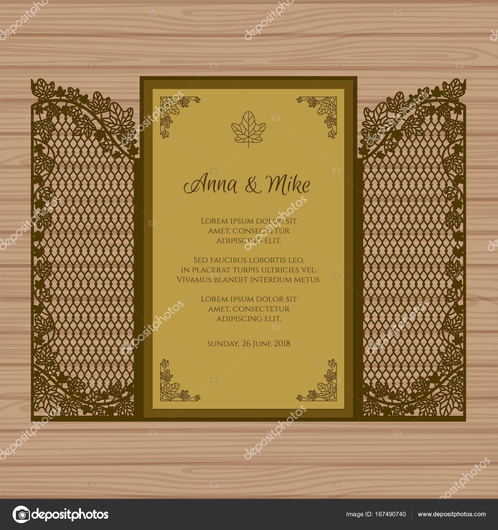 faire part de mariage ou carte de voeux avec le portail et le lierre mod le enveloppe de papier. Black Bedroom Furniture Sets. Home Design Ideas