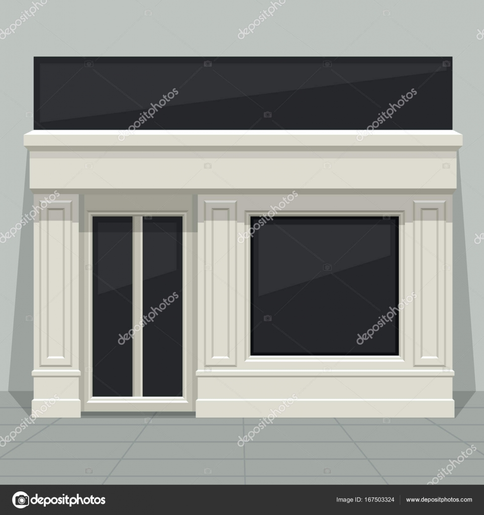 Facade shop store boutique with glass windows and doors front view. Front & Facade shop store boutique with glass windows and doors front ...
