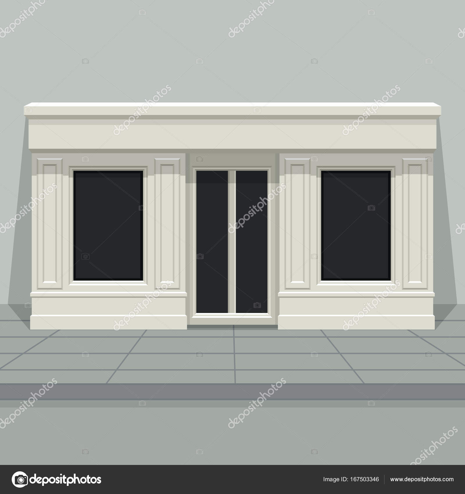 Facade shop store boutique with glass windows and doors for Window design template