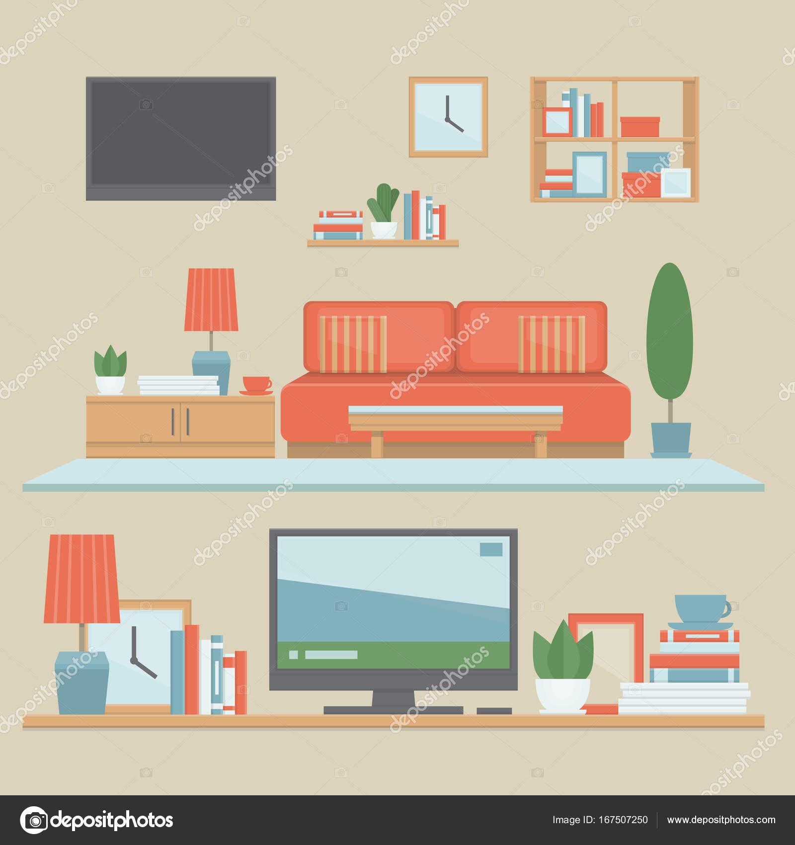 Modernes Interieur Wohnzimmer und Regale mit hab und gut ...