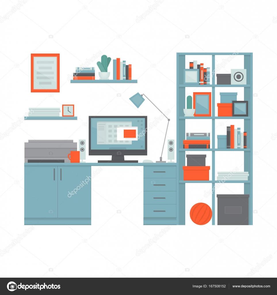 Arbeitsplatz-Freiberufler mit Schreibtisch, Computer, Regale und ...