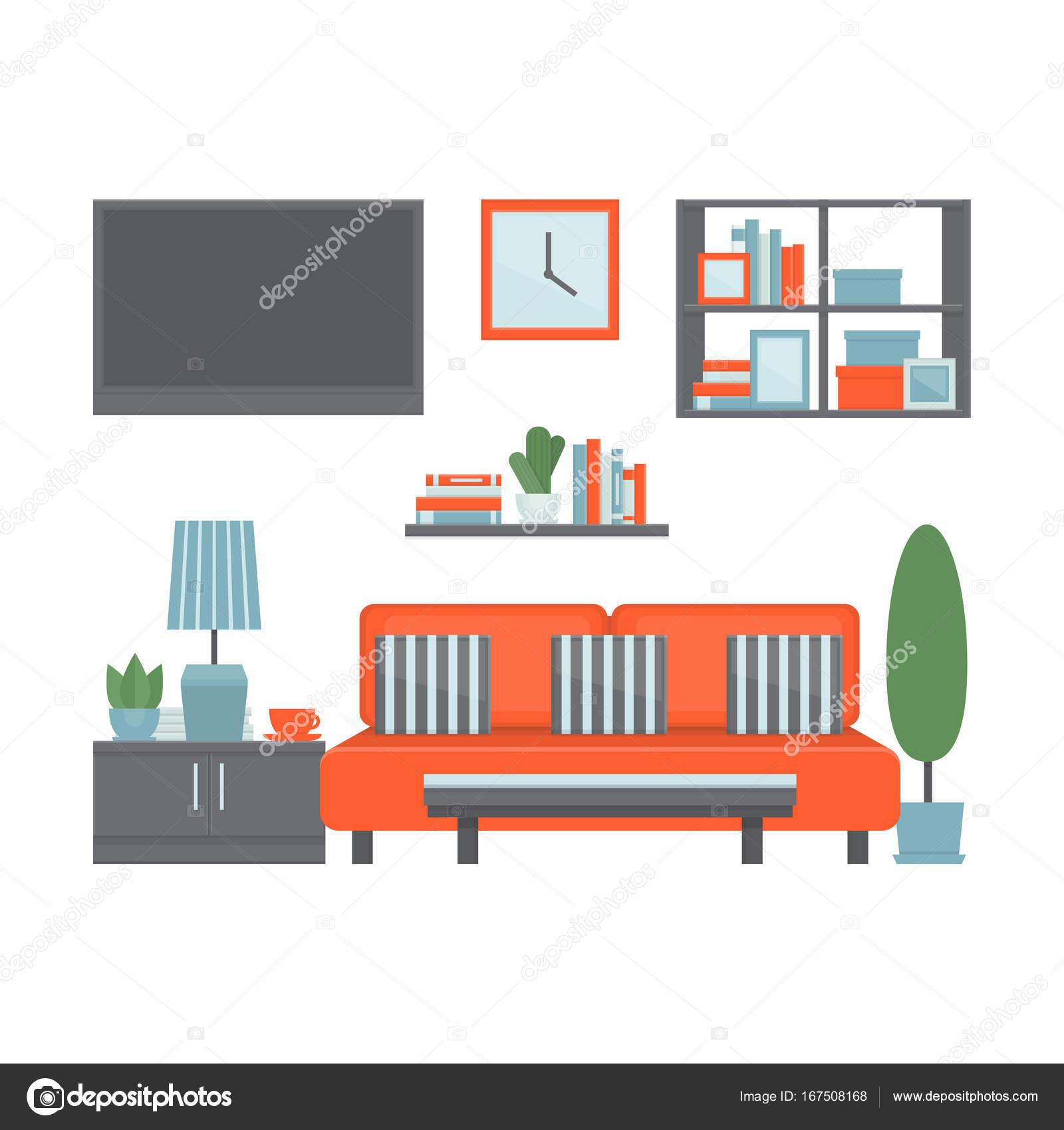Wohnzimmer modernes Interieur mit Möbeln und Geräten. Vorderansicht ...