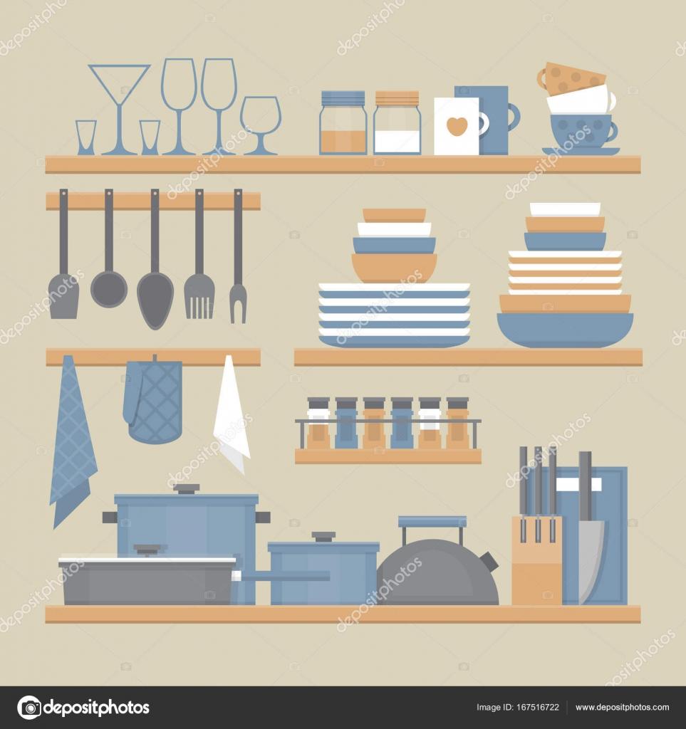 Mensole da cucina e utensili da cucinare. Stile piano, illustrazione ...