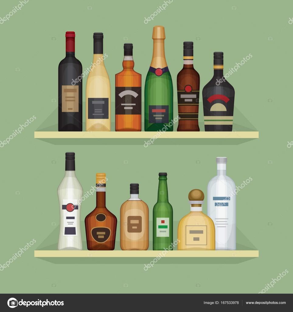 Bar Plank Aan Muur.Verschillende Alcohol Fles Op De Plank Alcohol En Drankjes Plank