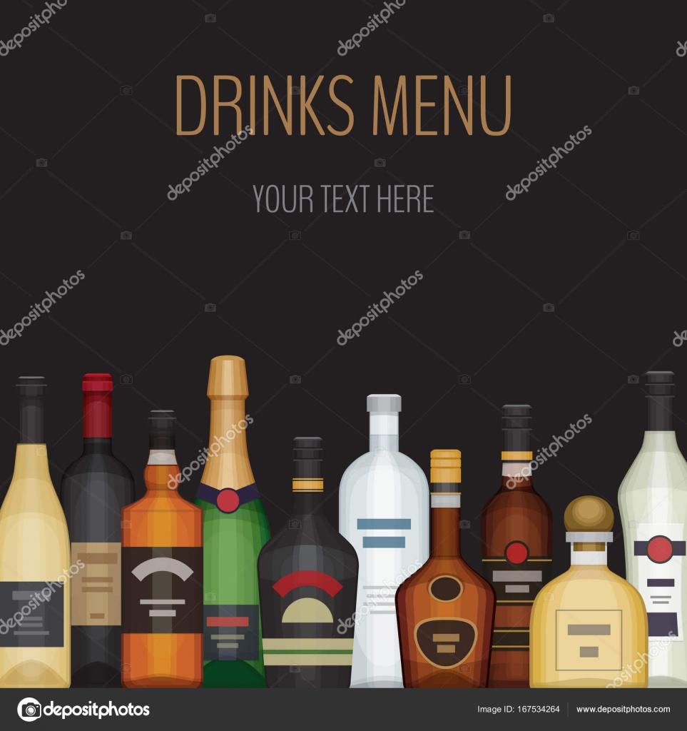 Karte mit verschiedenen Alkohol Flasche. Alkoholische Getränke und ...