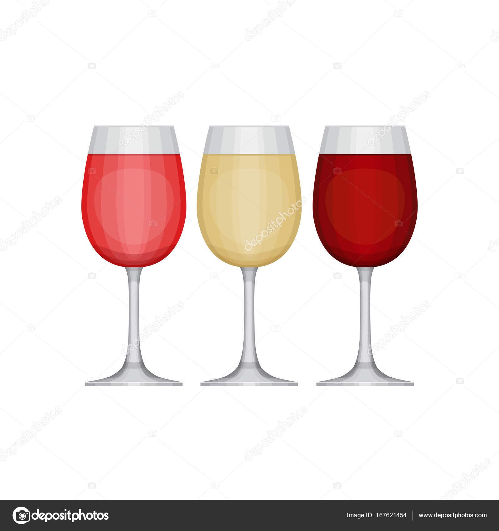 Weingläser Rot satz verschiedenen weingläser rot rosa und weiß arten