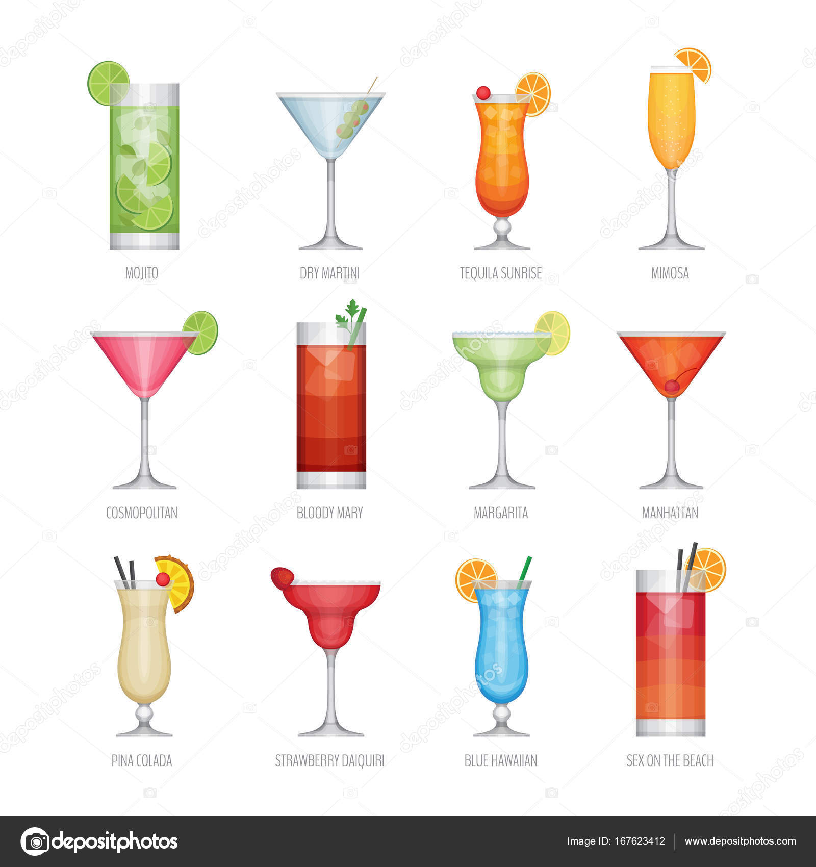 Inspiring Beliebte Cocktails The Best Of Flache Icons Set Alkohol Cocktail. Flache Design-stil,