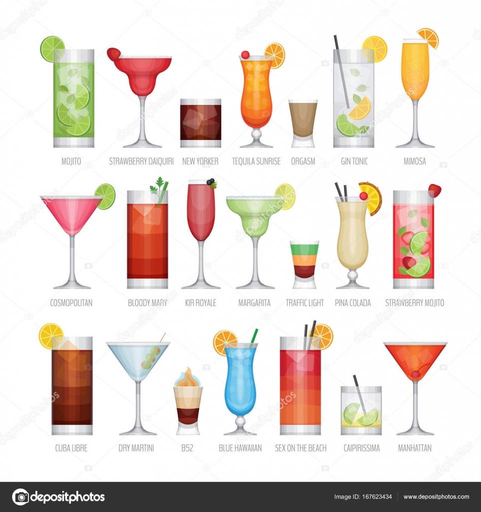 Terrific Beliebte Cocktails Reference Of Flache Icons Set Alkohol Cocktail. Flache Design-stil,