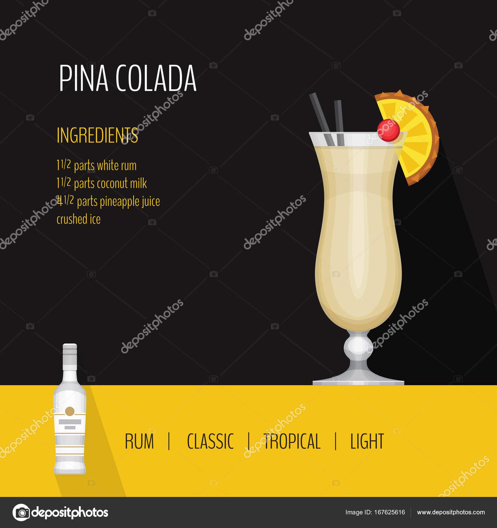 Cocktail Karte.Glas Cocktail Pina Colada Auf Schwarzem Hintergrund Cocktail Karte