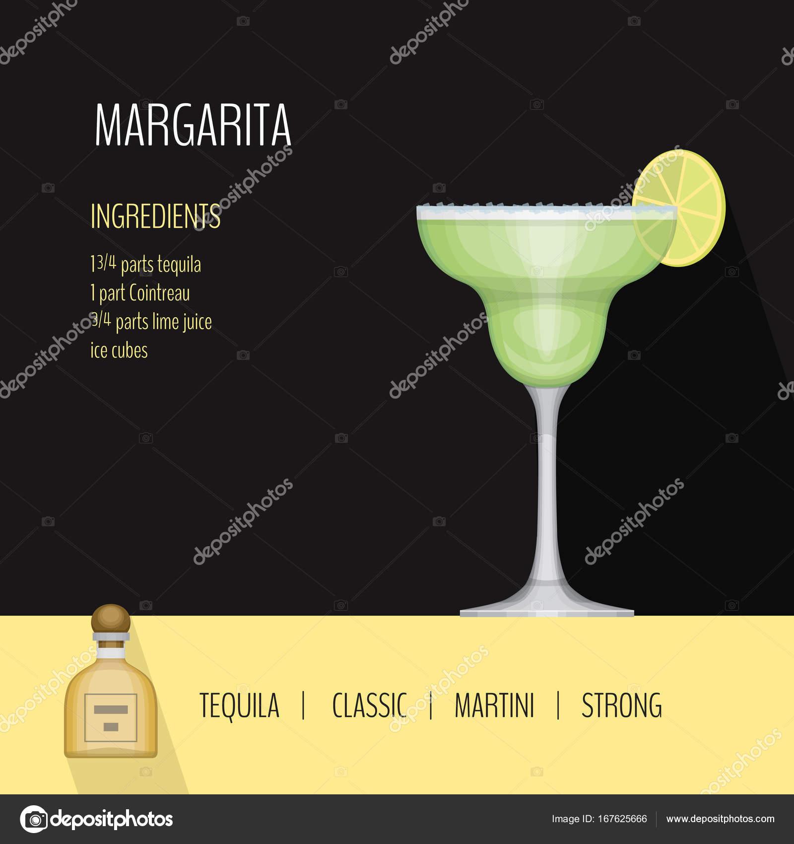 glass of cocktail margarita on black background cocktail menu card