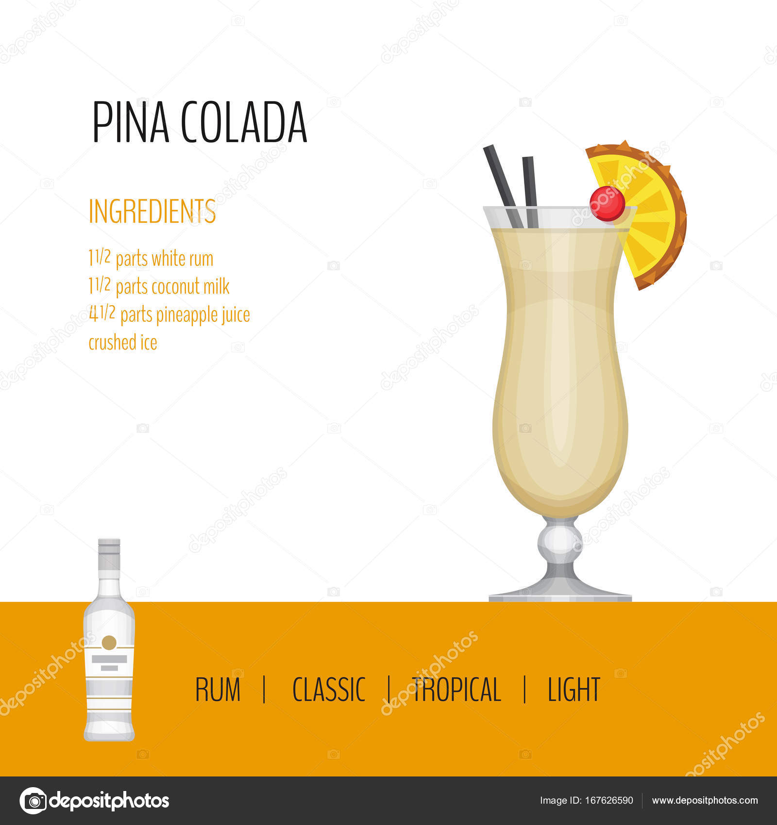 glass of cocktail pina colada on white background cocktail menu