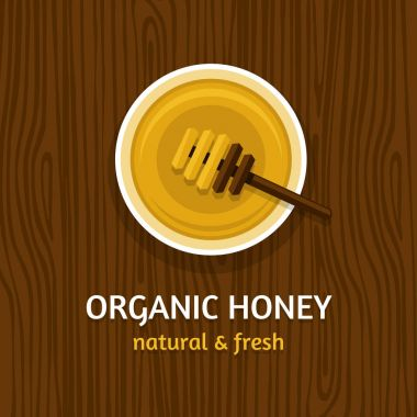 Honey pot with a spoon on the wood table. Top view. Vector illustration, flat style.