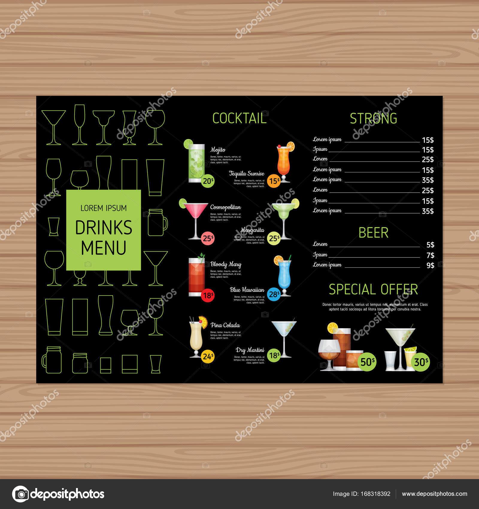 Cocktail-Menü-Design. Alkohol trinkt Tri-Fold Broschüre Layout ...