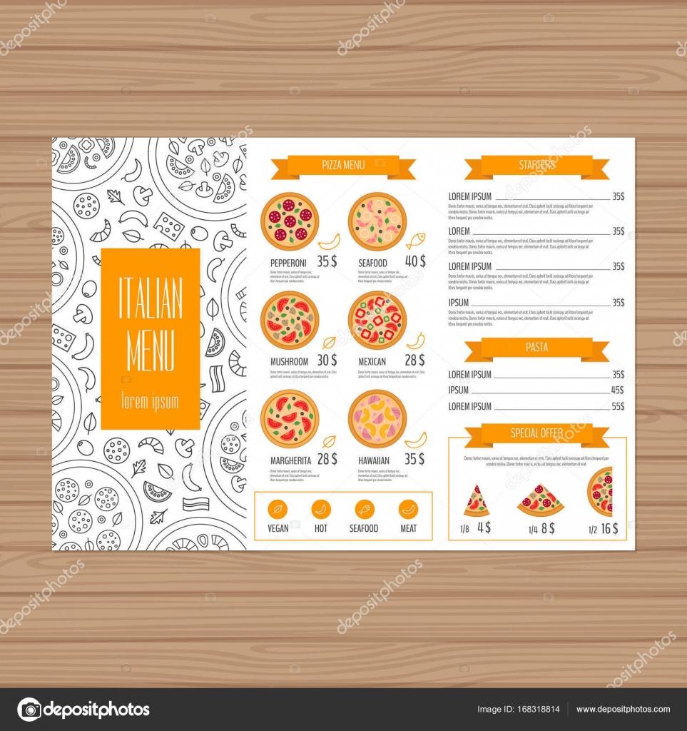 Diseño de menú de pizza. Plantilla de diseño de folleto tríptico ...
