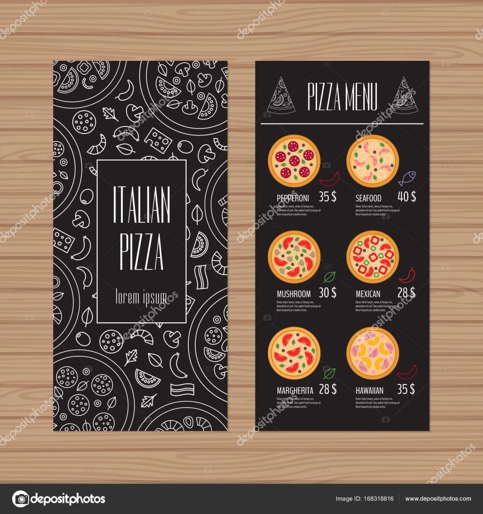 pizza menu design. leaflet and flyer layout template. restaurant