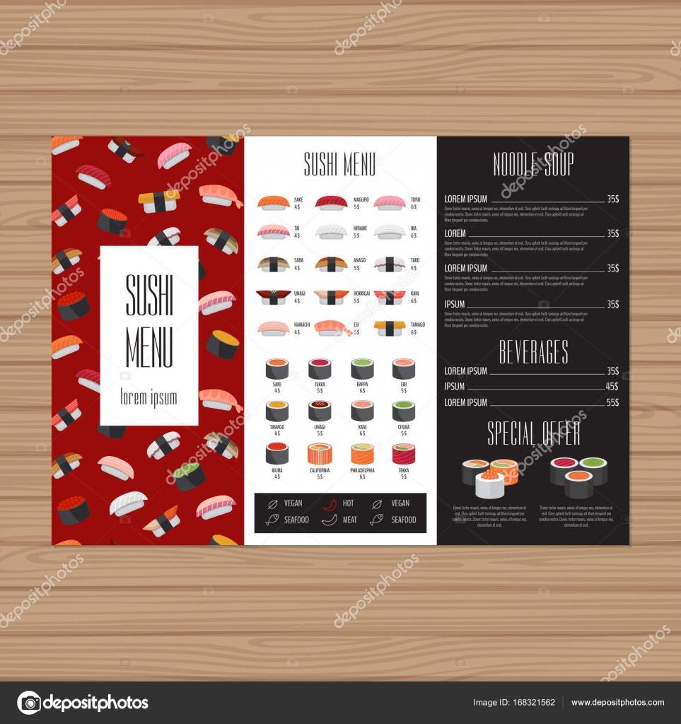 sushi menu design tri fold leaflet layout template japanese food