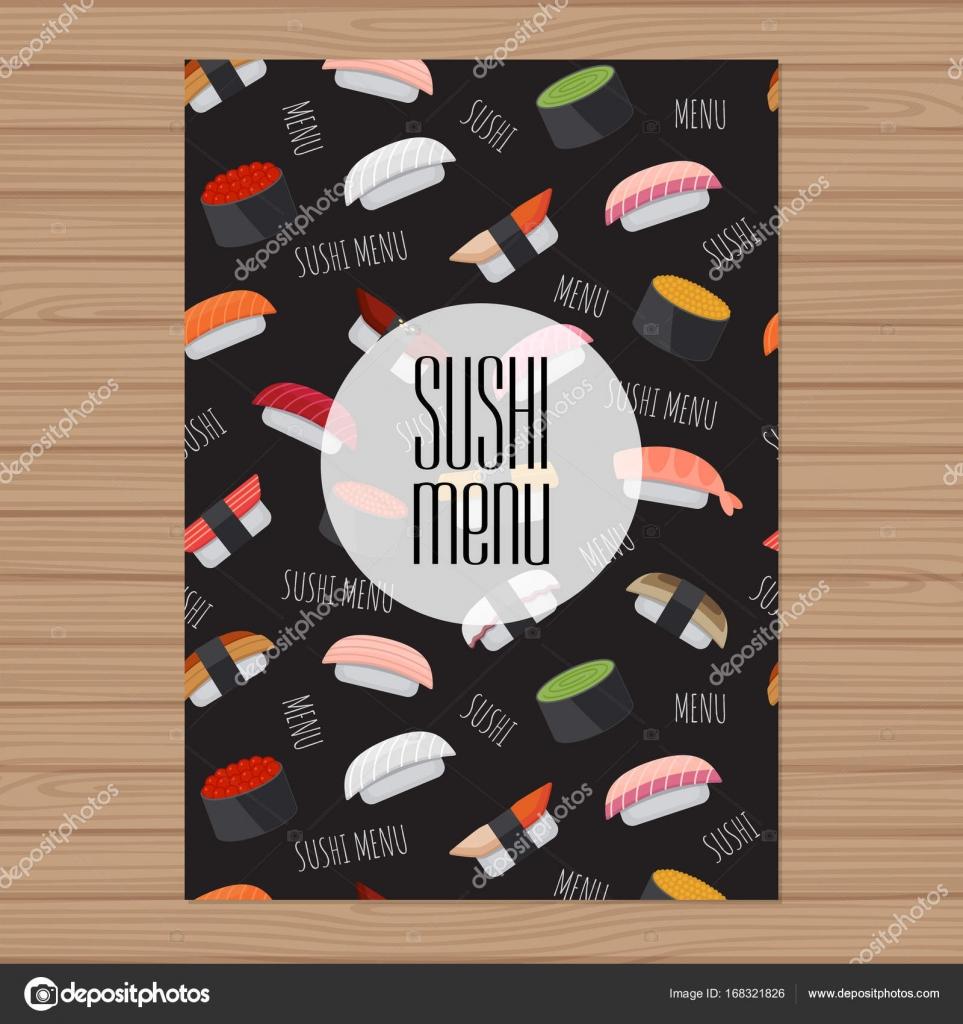 Diseño de menú de sushi. Plantilla de diseño de tamaño A4. Tapa ...