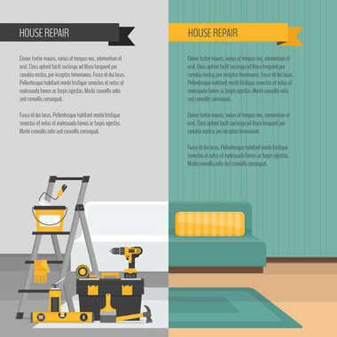 Room before and after repair. Home interior renovation. Flat style, vector illustration.