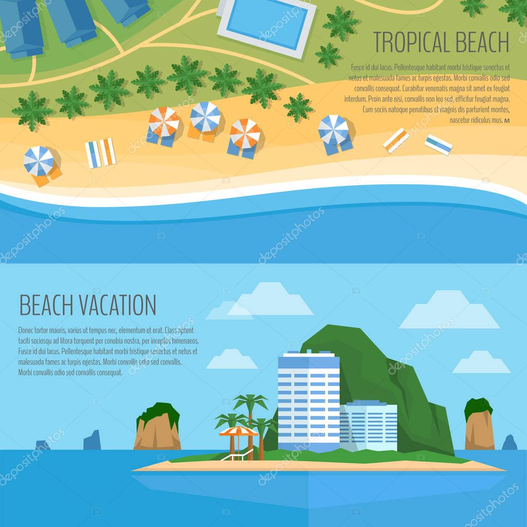 Top view of a tropical beach. Palm trees, umbrellas and lounge chairs on the beachfront. Summer holiday. Vector Illustration, flat design style.