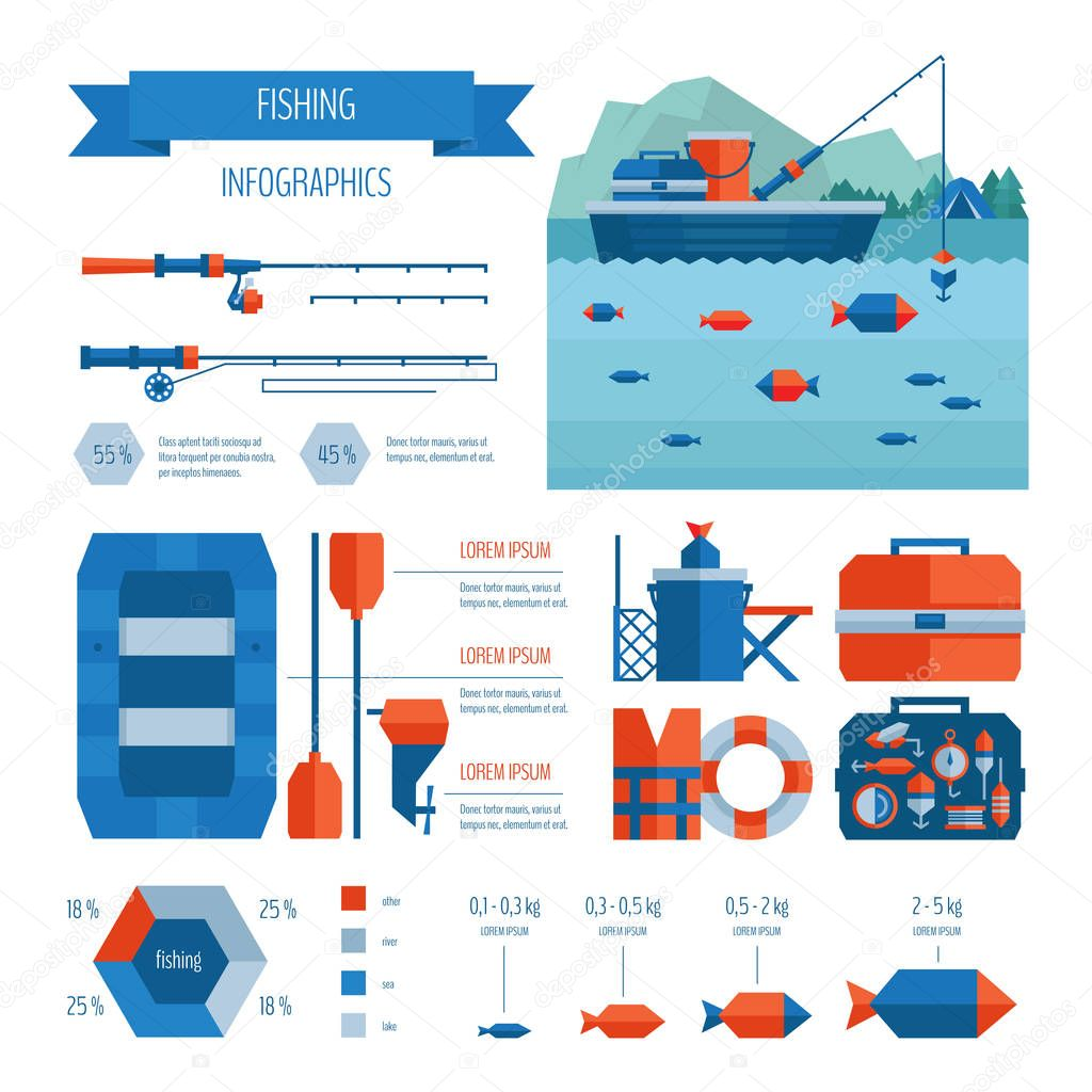 Fishing infographics. Flat style.