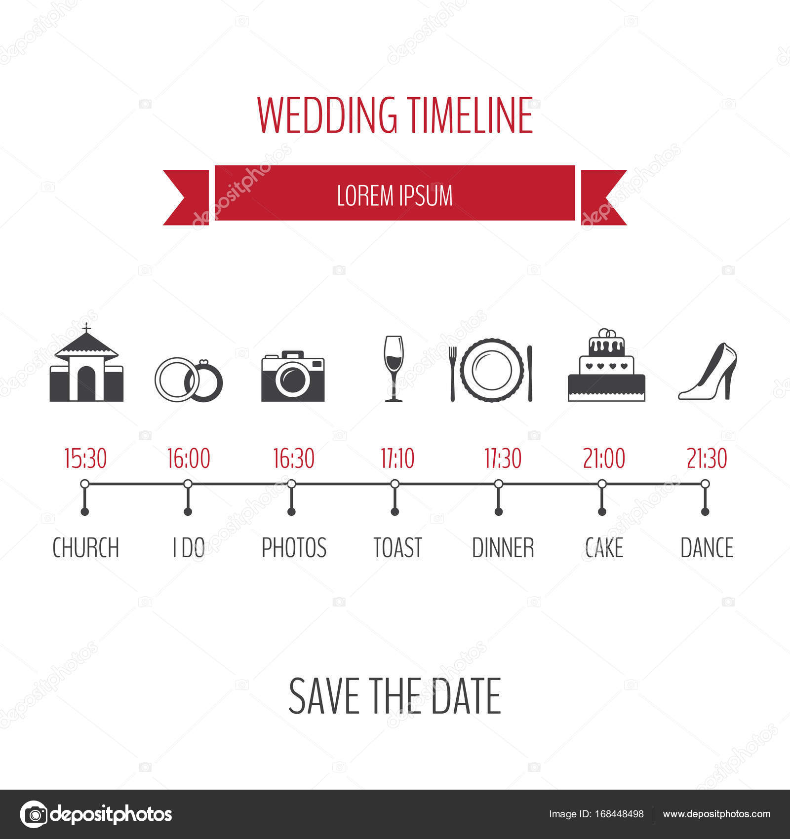 Wedding timeline infographic. Vector illustration. — Stock Vector ...