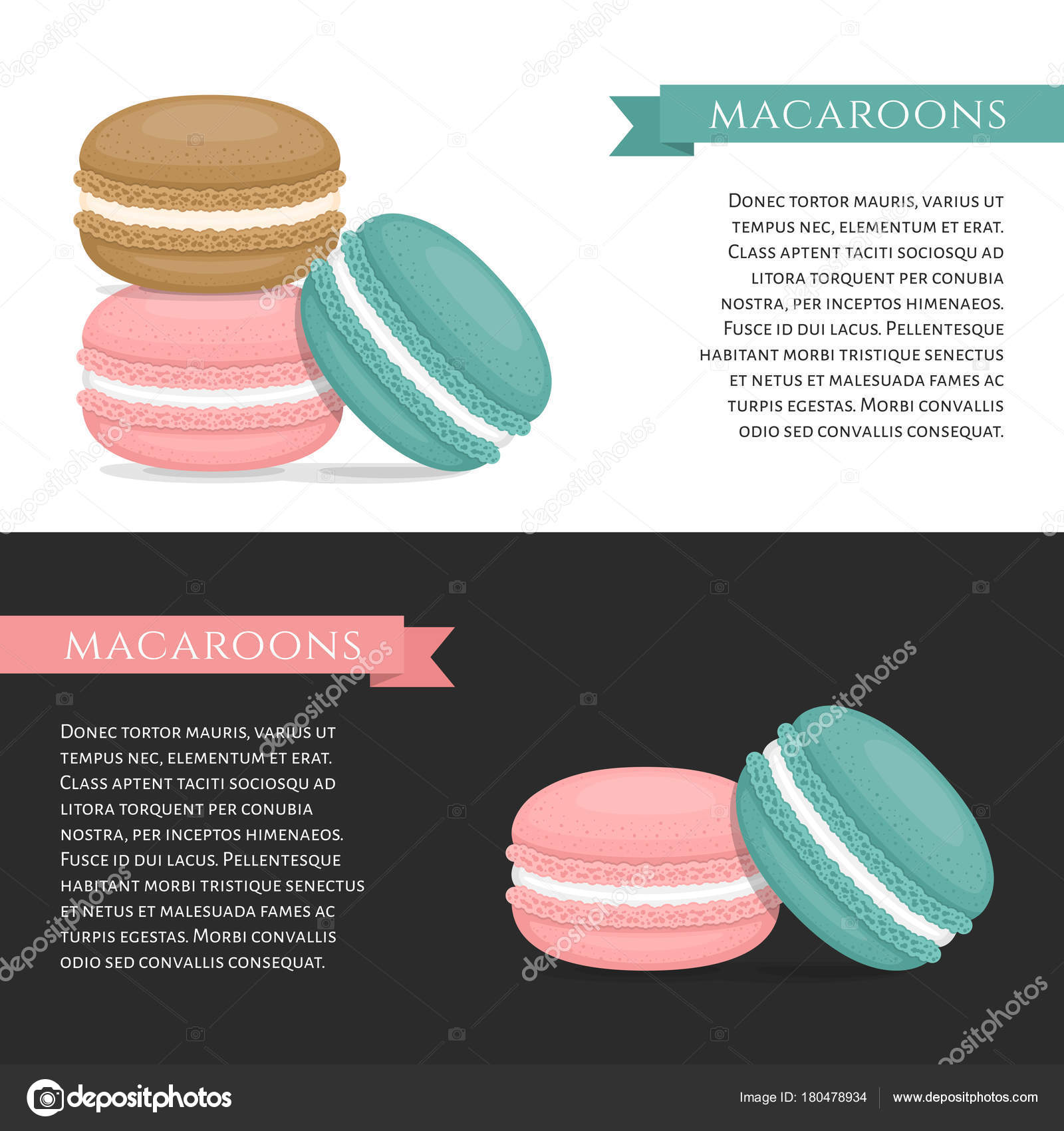 different types of macaroons banner cake macaron flat style